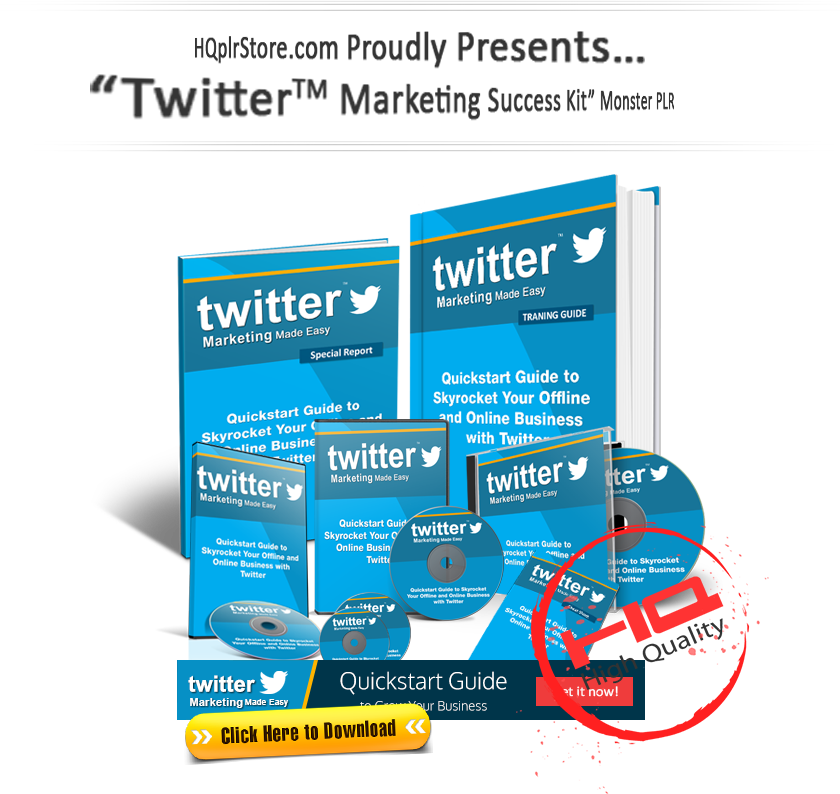 Twitter Marketing Success Kit Monster PLR Download